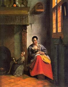 Pieter De Hooch - Woman Nursing an Infant