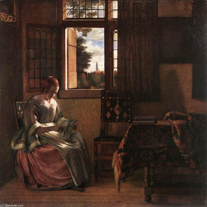 Woman Reading a Letter, Oil On Canvas by Pieter De Hooch (1629-1694, Netherlands)