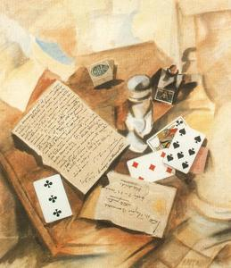 Rafael Barradas - Collage with Playing Cards and letter of Torres-Garcia