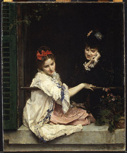 Girls at a Window by Raimundo De Madrazo Y Garreta (1841-1920, Italy) | Museum Art Reproductions Raimundo De Madrazo Y Garreta | WahooArt.com