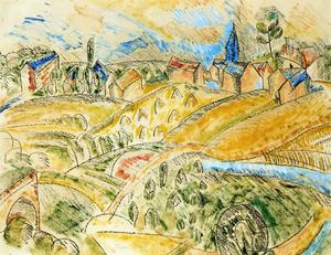 Raoul Dufy - Cubist Landscape with Haystacks