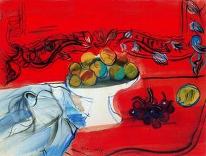 Raoul Dufy - The console with the fruit bowl red