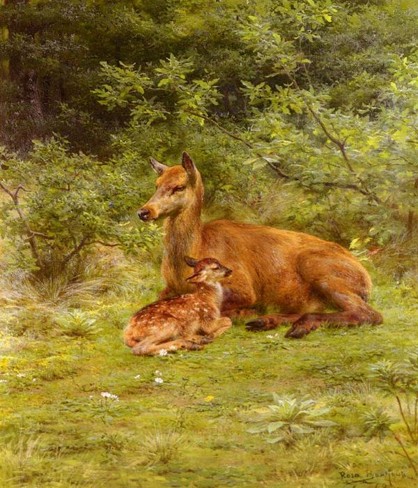 Doe And Fawn In A Thicket by Rosa Bonheur (1822-1899, France) | Painting Copy | WahooArt.com