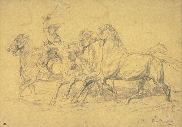 Five horses at the trot, led by a man by Rosa Bonheur (1822-1899, France)
