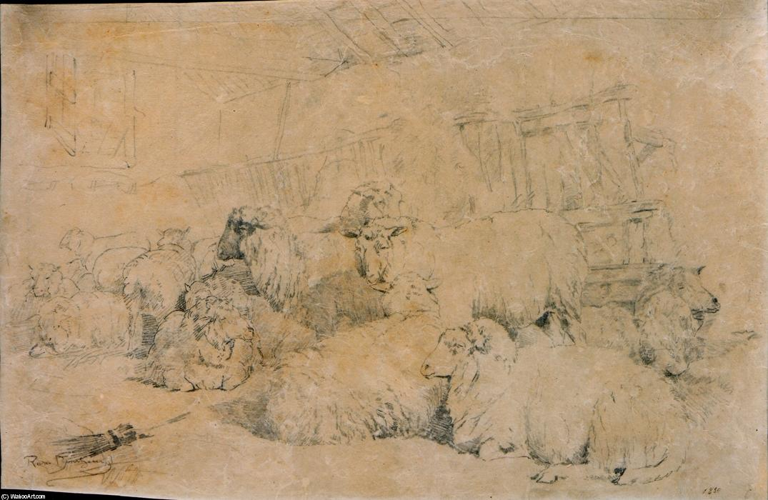 Flock of Sheep in Stable by Rosa Bonheur (1822-1899, France)
