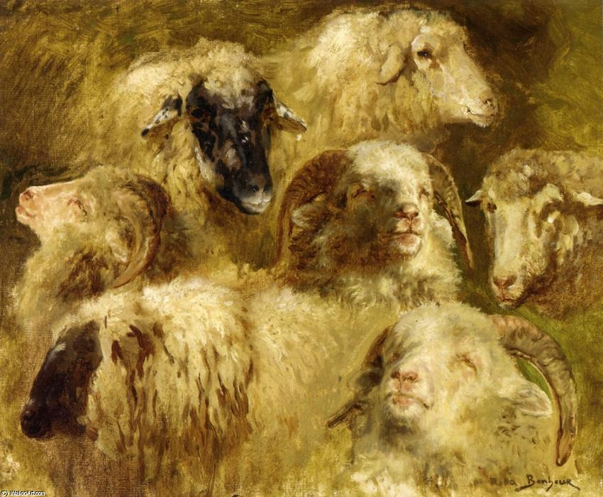 Heads of Ewes and Rams by Rosa Bonheur (1822-1899, France) | Famous Paintings Reproductions | WahooArt.com