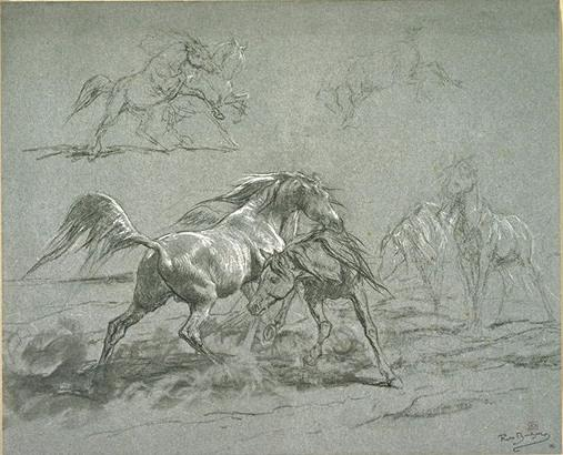 Horses fighting by Rosa Bonheur (1822-1899, France)