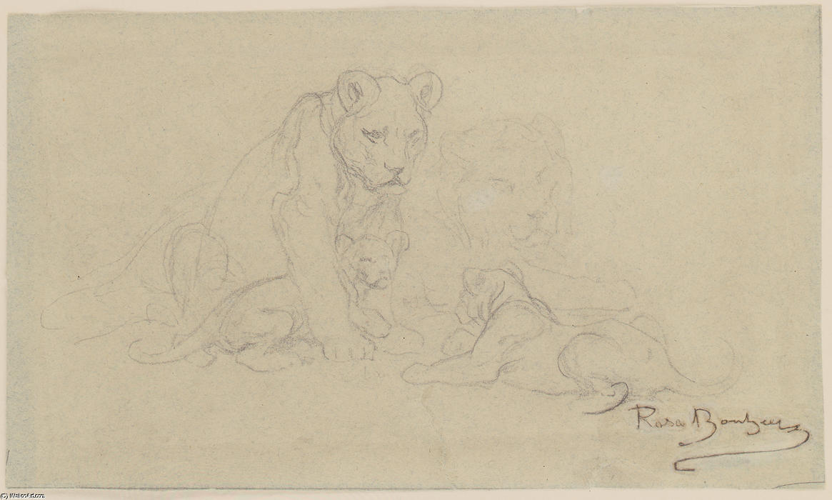 Pride of Lions by Rosa Bonheur (1822-1899, France)