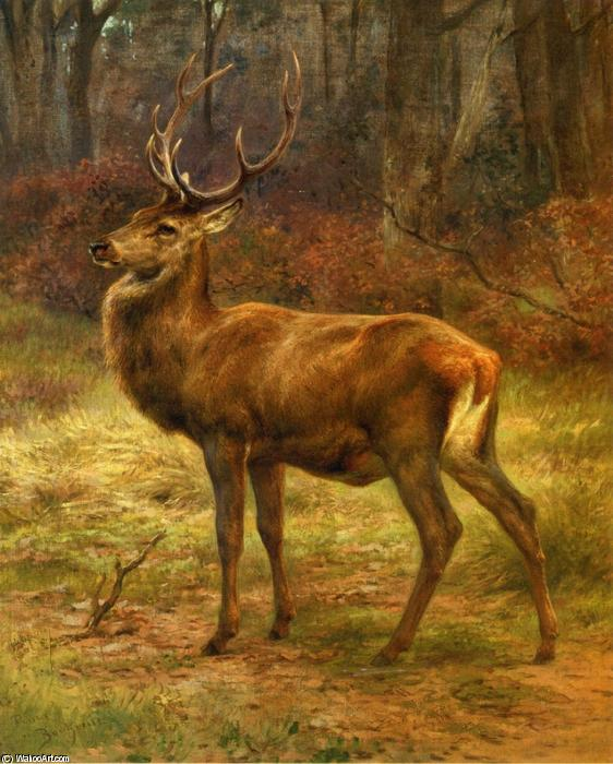 Stag in an Autumn Landscape, Oil On Canvas by Rosa Bonheur (1822-1899, France)