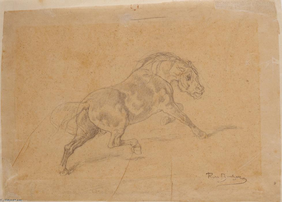 Study of Horse for Le duel by Rosa Bonheur (1822-1899, France)