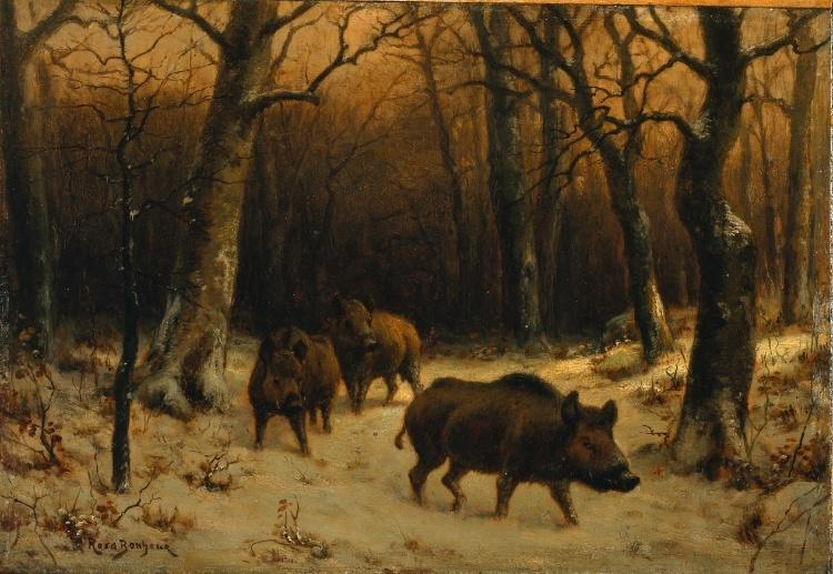 Wild Boars in the Snow by Rosa Bonheur (1822-1899, France)