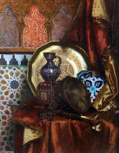 Rudolph Ernst - A Tambourine, Knife, Moroccan Tile and Plate on Satin covered Table