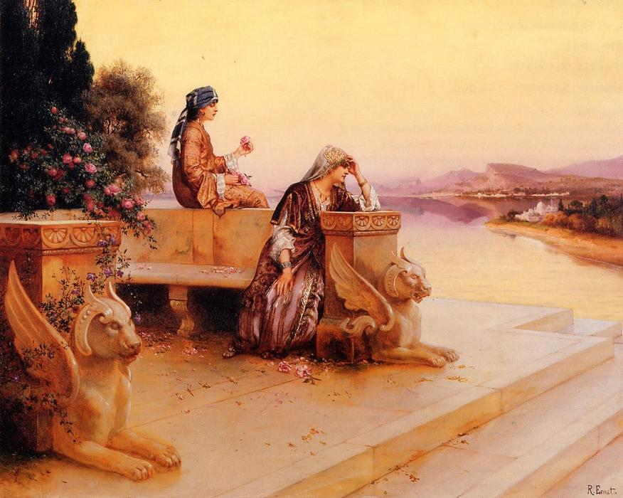 Elegant Arab Ladies on a Terrace at Sunset by Rudolph Ernst (1854-1932, Austria) | Art Reproduction | WahooArt.com