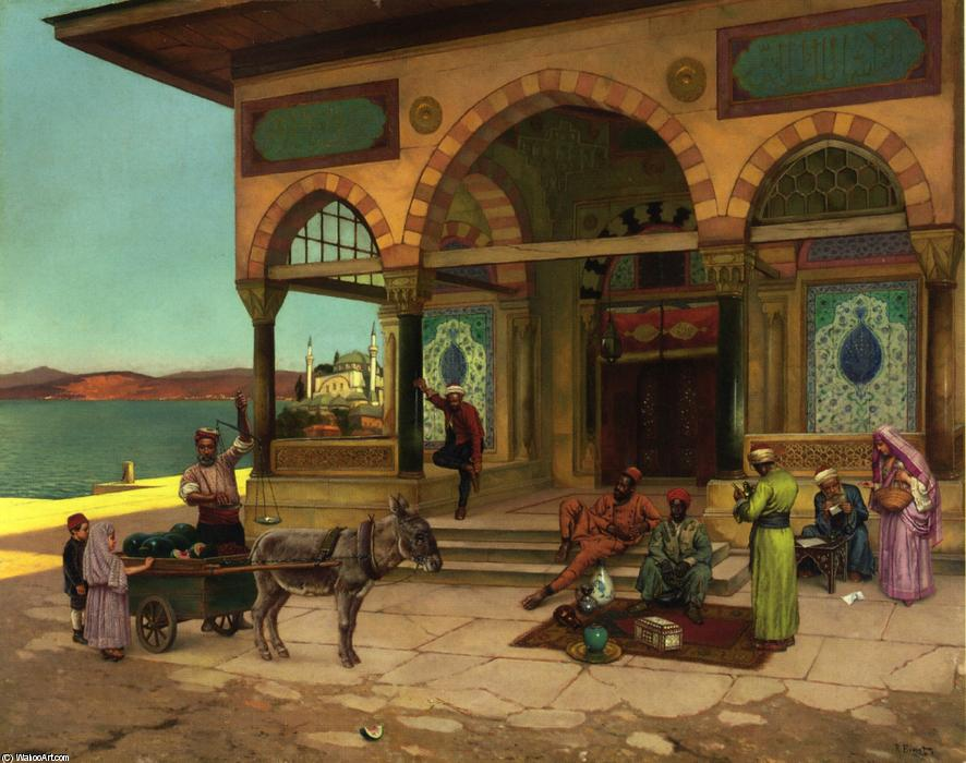 Outside the Selim Taibe, Constantinople by Rudolph Ernst (1854-1932, Austria) | WahooArt.com