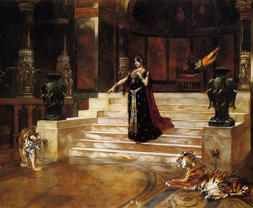 Salome and the Tigers by Rudolph Ernst (1854-1932, Austria)
