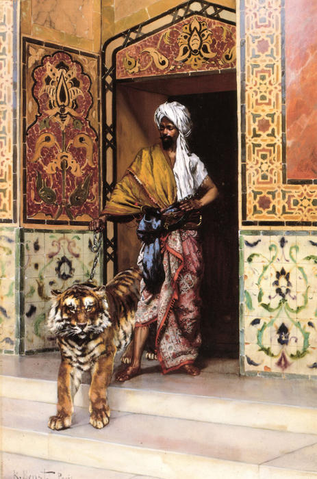 The Pasha's Favourite Tiger by Rudolph Ernst (1854-1932, Austria)