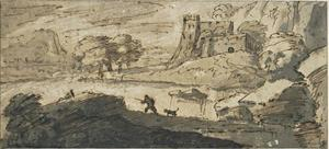 Salvator Rosa - Hunter in a lake dominated by a fortress