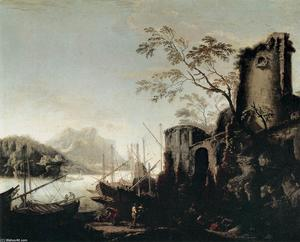 Salvator Rosa - Marine Landscape with Towers