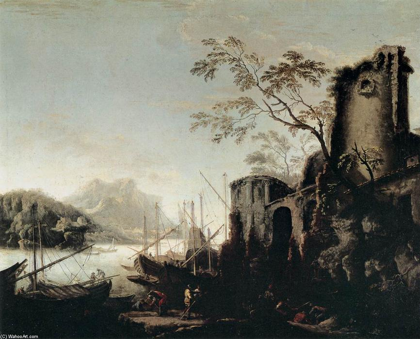 Marine Landscape with Towers by Salvator Rosa (1615-1673, Italy) | Art Reproductions Salvator Rosa | WahooArt.com