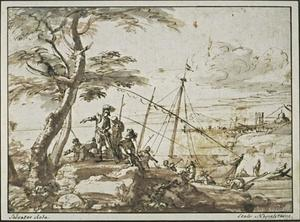 Salvator Rosa - Soldiers disembarking from a galley, with a port in the distance