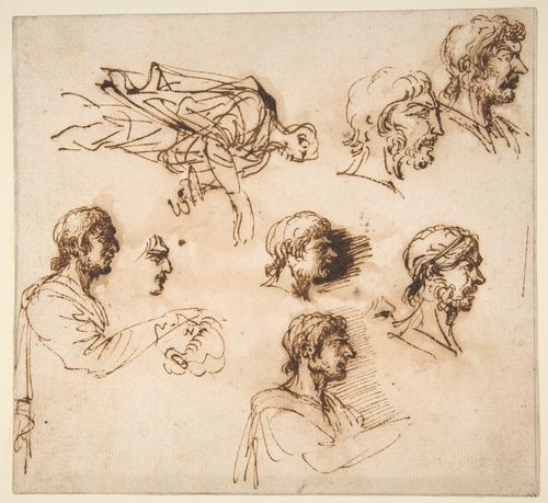Studies of a Man's Head in Profile, and of a Standing Male Figure by Salvator Rosa (1615-1673, Italy)