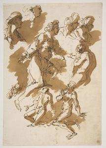 Salvator Rosa - Studies of Kneeling Figures