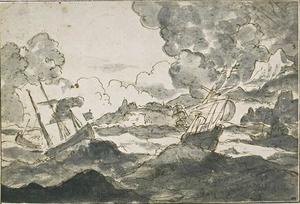 Salvator Rosa - Vessels caught in a storm