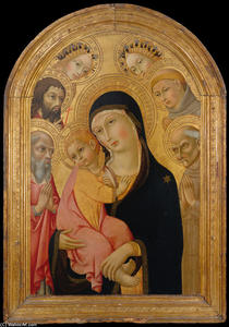 Sano Di Pietro - Madonna and Child with Saints Jerome, Bernardino, John the Baptist, and Anthony of Padua and Two Angels