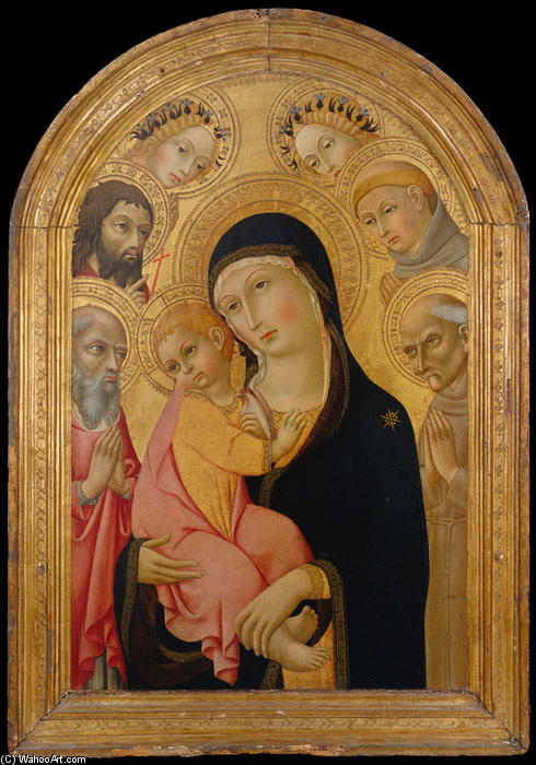 Madonna and Child with Saints Jerome, Bernardino, John the Baptist, and Anthony of Padua and Two Angels by Sano Di Pietro (1406-1481, Italy) | Art Reproductions Sano Di Pietro | WahooArt.com