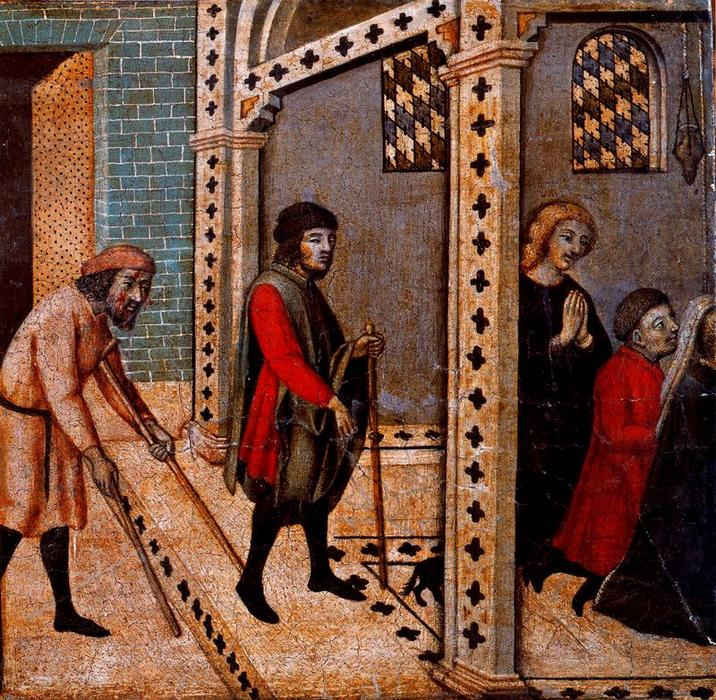 Order Art Reproductions | Scenes from the Legend of Saint Peter Martyr. The Blind and the Lame Pray at the Saint`s Tomb by Sano Di Pietro (1406-1481, Italy) | WahooArt.com