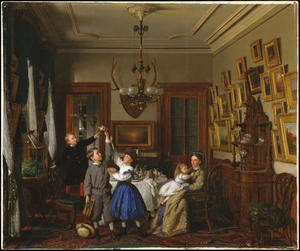 Seymour Joseph Guy - The Contest for the Bouquet. The Family of Robert Gordon in Their New York Dining-Room