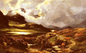 Sidney Richard Percy - Cattle and Drovers on a Path, Styhead Pass, Cumberland