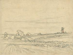 George Clausen - Landscape study relating to the etching, -Clavering Fields-