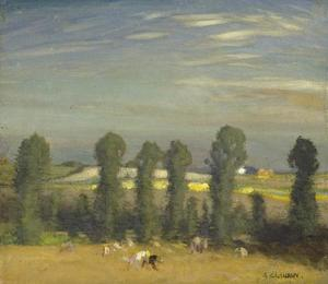 George Clausen - Landscape with hayfield and poplars