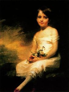 Henry Raeburn Dobson - A Little Girl Carrying Flowers