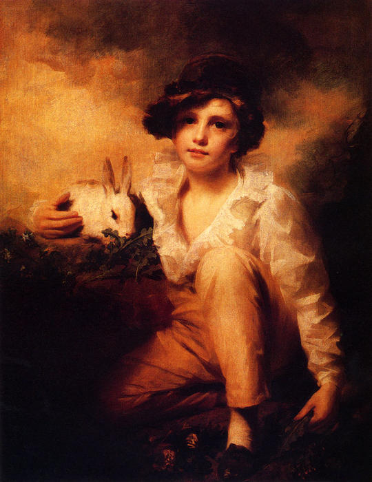 Boy And Rabbit by Henry Raeburn Dobson | Oil Painting | WahooArt.com