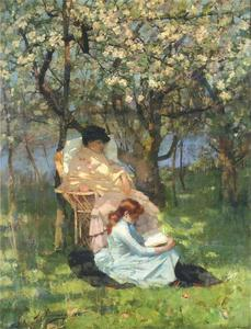 John Lavery - Convalescence in the Apple Orchard
