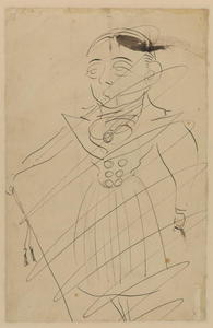Max Beerbohm - Caricature of a man in a frock coat