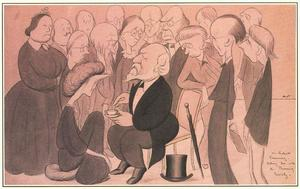 Max Beerbohm - Mr. Robert Browning, taking tea with the Browning Society