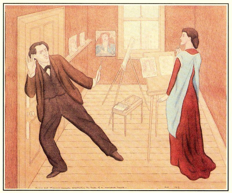 Mr.--------- and Miss---------- nervously perpetuating the touch of a vanished hand by Max Beerbohm (1872-1956) |  | WahooArt.com