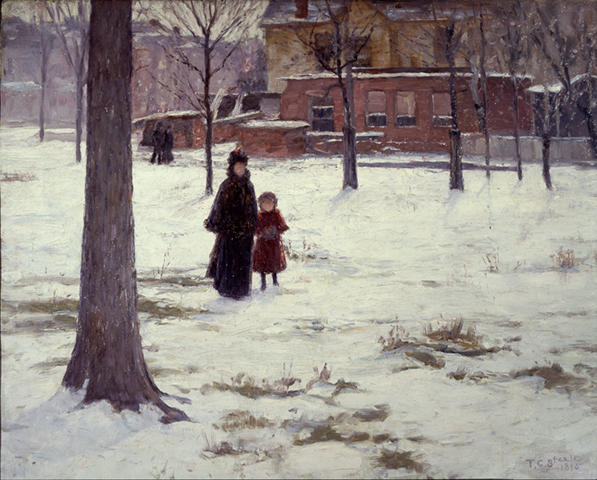 16th Street, Indianapolis (Winter Morning) by Theodore Clement Steele (1847-1926, United States) | Museum Quality Reproductions | WahooArt.com