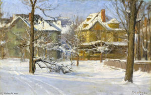 Theodore Clement Steele - 16th Street, Indianapolis in Snow