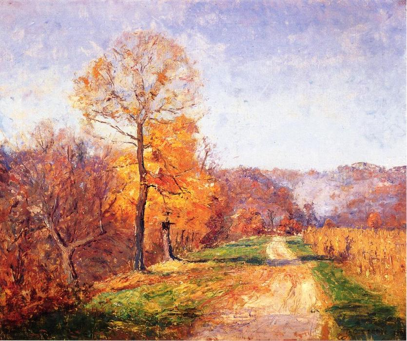 Along a Country Lane by Theodore Clement Steele (1847-1926, United States) | Painting Copy | WahooArt.com
