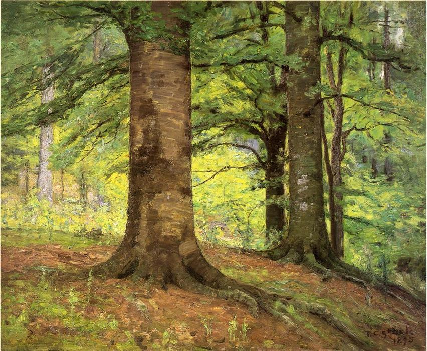 Beech Trees by Theodore Clement Steele (1847-1926, United States) | Museum Art Reproductions Theodore Clement Steele | WahooArt.com