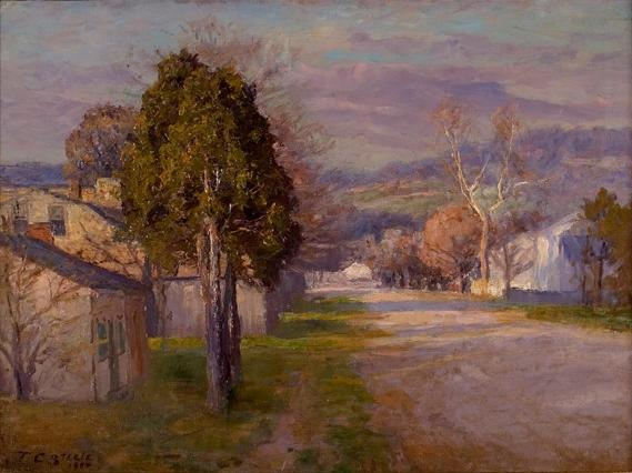 Brookville - A Street by Theodore Clement Steele (1847-1926, United States) | Museum Art Reproductions Theodore Clement Steele | WahooArt.com