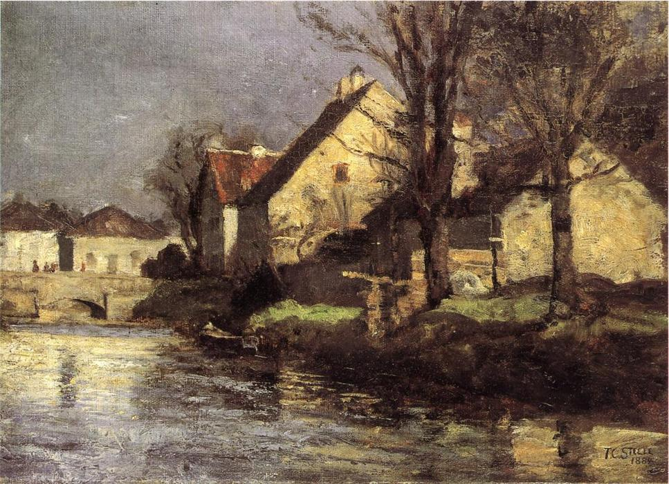 Canal, Schlessheim, 1884 by Theodore Clement Steele (1847-1926, United States) | Paintings Reproductions Theodore Clement Steele | WahooArt.com