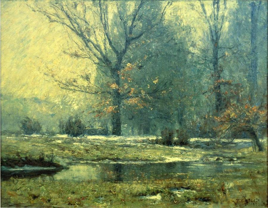 Creek in Winter, 1899 by Theodore Clement Steele (1847-1926, United States) | Paintings Reproductions Theodore Clement Steele | WahooArt.com