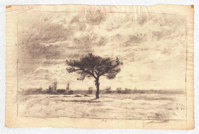 Drawing of a meadow by Theodore Clement Steele (1847-1926, United States) | Reproductions Theodore Clement Steele | WahooArt.com