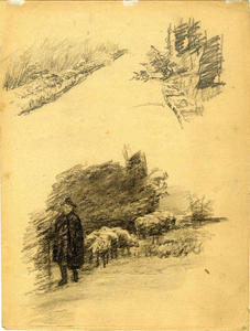 Theodore Clement Steele - Drawing of a shepherd