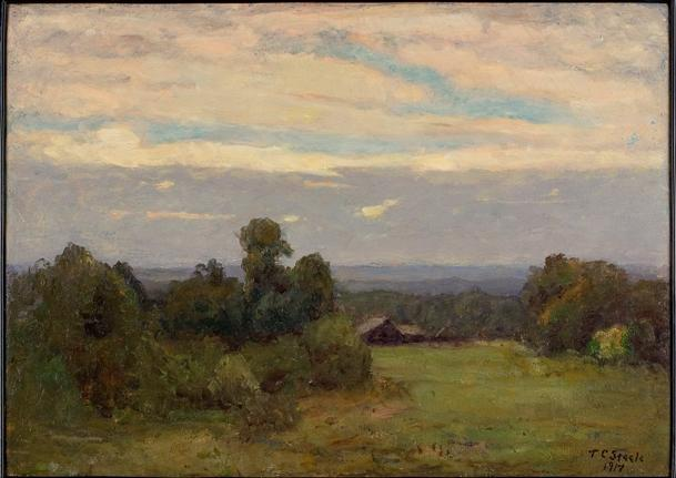 Evening (A Gray Day) by Theodore Clement Steele (1847-1926, United States) | Art Reproduction | WahooArt.com